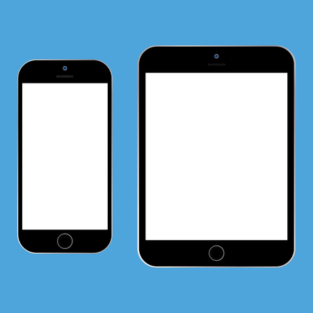 Black tablet and black smartphone with white screen on blue background vector. Smartphone and mobile phone set icon. Ilustração