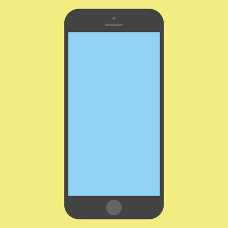 Flat style black  Smartphone with blue screen on yellow background. Mobile phone icon vector.