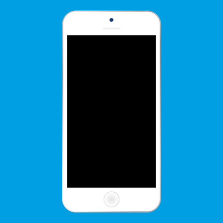 Flat style white  Smartphone with black screen on blue background. Mobile phone icon vector. Ilustração