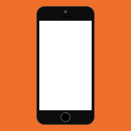 Flat style smartphone black color with grey empty screen on orange background. black Smartphone flat style icon vector.