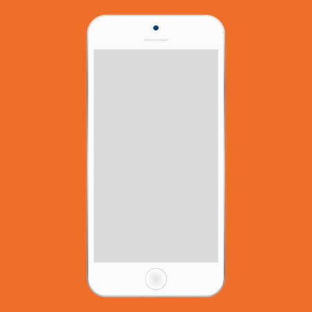 Flat style white  Smartphone with grey screen on orange background. Mobile phone icon vector.