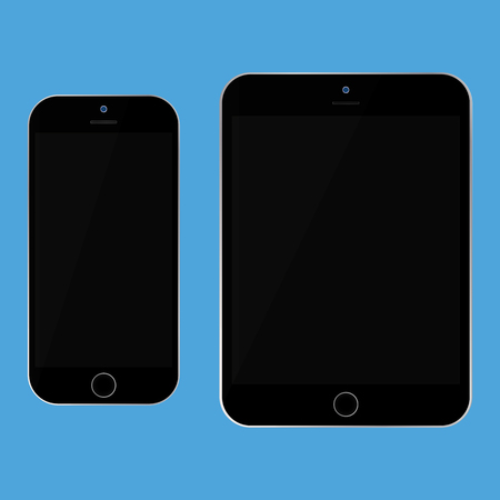 Black tablet and black smartphone with black screen on blue background vector . Smartphone and mobile phone set.