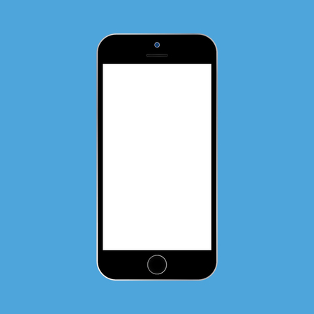 Flat style black  Smartphone with white screen on blue background. Mobile phone icon vector