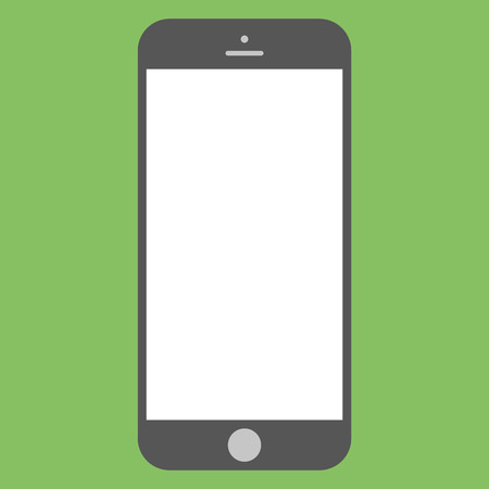 Flat style grey  Smartphone with white screen on green background. Mobile phone icon vector. Ilustração
