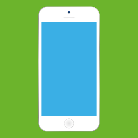 Flat style white  Smartphone with blue screen on green background. Mobile phone icon vector. Ilustração