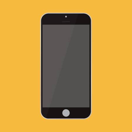 Flat style smartphone black color ith grey empty screen on orange background. black Smartphone flat style icon vector.