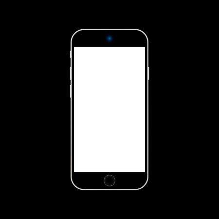 Black  smartphone with white screen on black background vector . Black Smartphone  icon on black background.