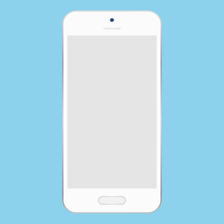 White smartphone camera and menu button with light grey empty screen on blue background. Mobile phone icon vector