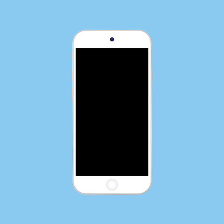 White smartphone  with black screen on blue background vector.  Smartphone or mobile phone . Ilustração