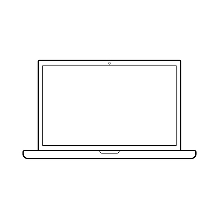 Outline black color opened notebook laptop with empty screen. Laptop outline vector.