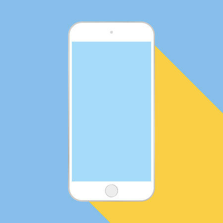 White smartphone with blue screen and yellow shadow flat style mobile phone on blue background vector.