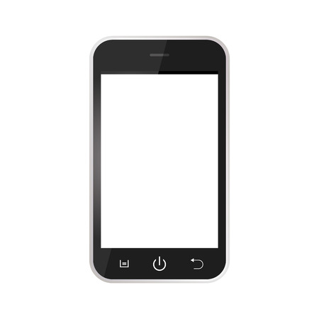 Black Realistic mobile phone with blank screen isolated on white background. Black Smartphone with white screen vector