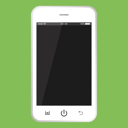 Téléphone portable blanc avec écran noir. Smartphone avec boutons, temps, vecteur de batterie. Smartphone réaliste.