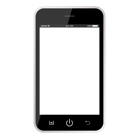 Realistic black mobile phone smartphone with time clock battery, buttons and white empty screen. realistic black smartphone on white background.
