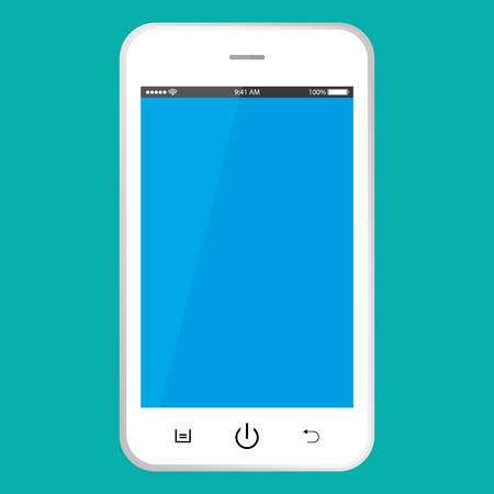 White smartphone with blue screen vector . Smartphone with blue screen vector . Mobile phone icon. Ilustração