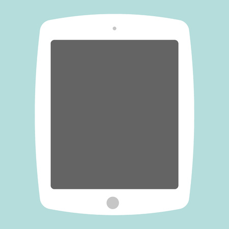 White Flat style tablet on blue background. Tablet icon vector. Ilustração