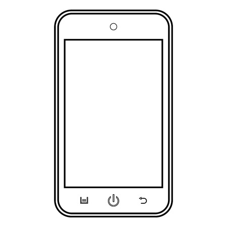 Smartphone outline mobile phone vector . Smartphone outline sign. Mobile phone outline icon