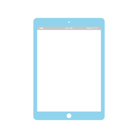 Blue Tablet with white screen icon vector .  tablet with white screen, blue color on white background.