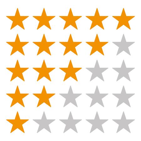 5 Star rating icon vector . Rating star orange star vector . Gold rating stars Ilustração