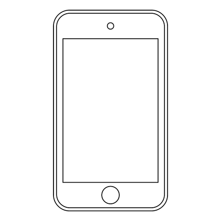 Smartphone mobile phone outline classic style icon.  Smartphone outline vector.