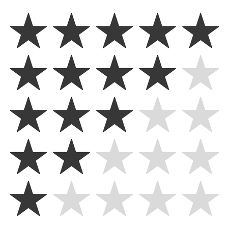 5 grey star rating icon vector . rating star vector