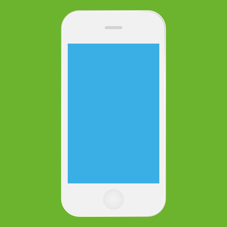 White mobile phone  with blue screen icon vector . Smartphone  white color icon