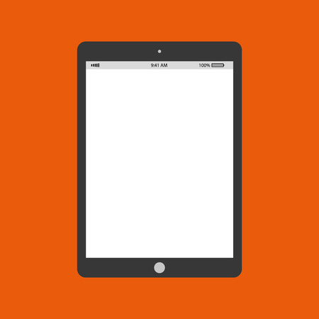 Grey tablet with battery and clock on white empty screen. Grey tablet vector.