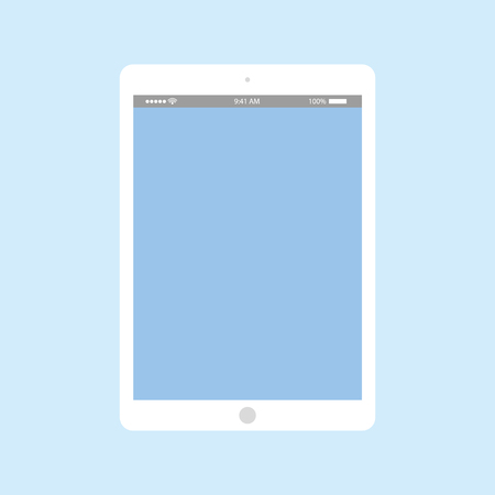 Grey tablet with battery and clock on blue empty screen. grey tablet flat style on blue background vector.