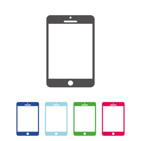 Grijs, roze, blauw en oranje kleurentablet ingesteld icoon. Tabletpictogram voor webdesign vectorteken Vector Illustratie