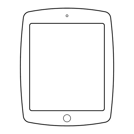Tablet outline vector . Tablet computer outline icon.