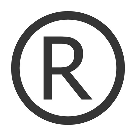Grey color R Registered trademark sign. Registered R trademark  grey icon vector.