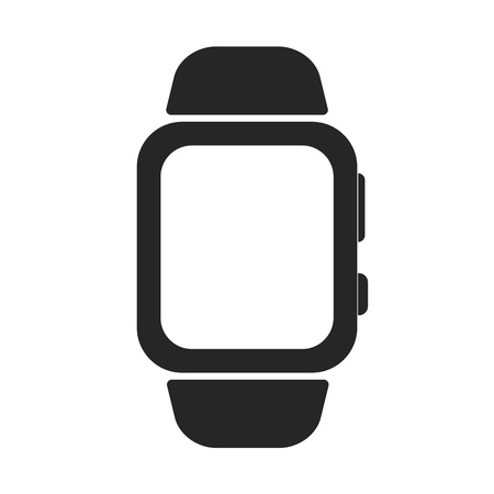 Black Wrist watch with buttons and strap on white background vector.