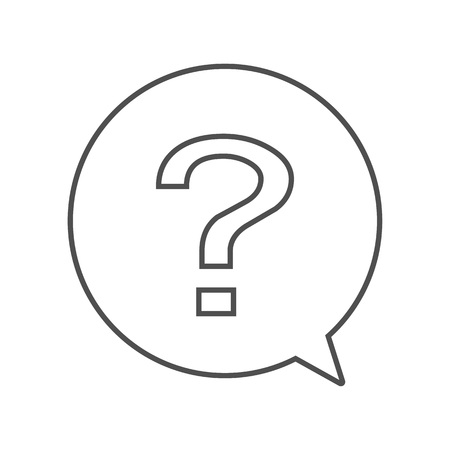 Question outline icon in circle chat sign vector. Question attention in circle.