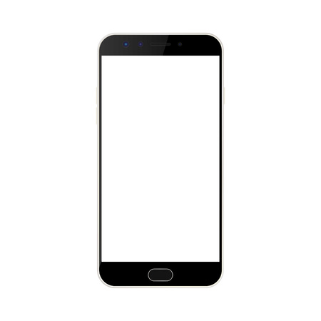 Black smartphone with camera and menu button and white empty screen with a glare. realistic Black smartphone vector. Ilustração
