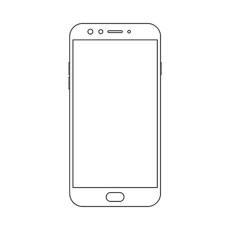 Outline front view smartphone with power and menu buttons, camera and empty screen on white background. Outline smartphone vector.