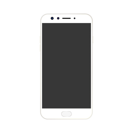 White smartphone with camera and menu button and Grey empty screen with a glare. realistic white smartphone vector.