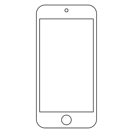 Smartphone white outline with camera and big menu menu button. Smartphone white outline classic proportions on white background vector. Ilustração