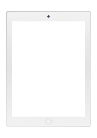 Grey tablet with empty white screen and camera icon vector . Grey Tablet  vector flat style.