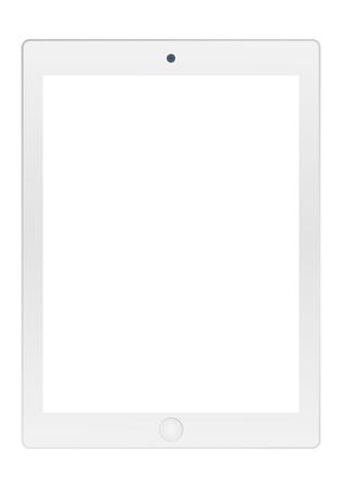 Tablette grise avec écran blanc vide et vecteur d'icône de caméra. Style plat de vecteur de tablette grise.