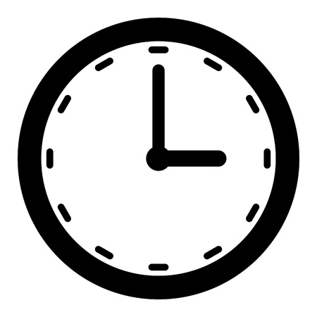 Black clock outline with minut and hour arrow on white background vector. Векторная Иллюстрация