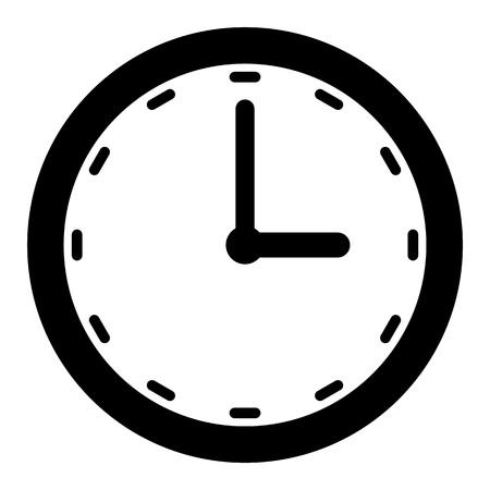 Esquema de reloj negro con flecha de minuto y hora en vector de fondo blanco. Ilustración de vector