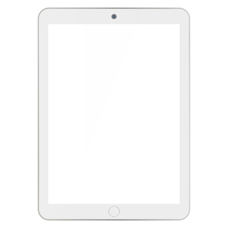 Light grey color Tablet with camera and white empty screen on white background. Tablet front view vector.