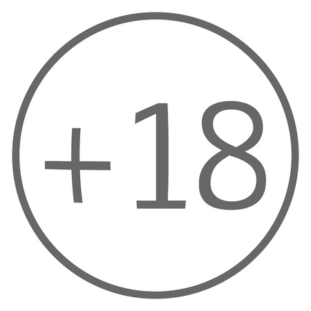 age limit 18 in circle grey color icon vector . age limit 18 sign.