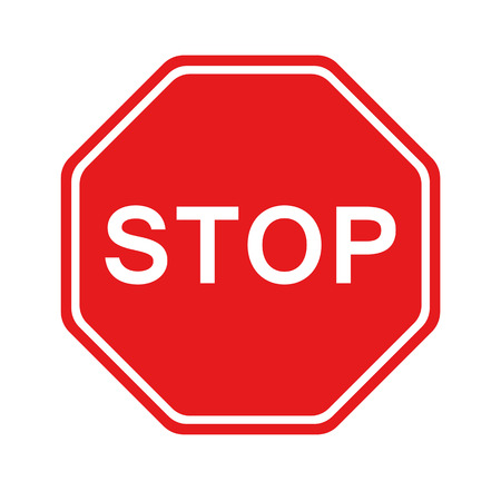 Red Stop Sign isolated on white background. Traffic regulatory warning stop symbol. Vector illustration.