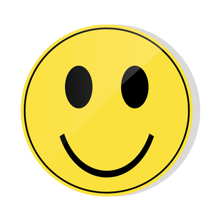 Yellow smile emoji with glossy front syde. Yellow smile emoji on white background vector.
