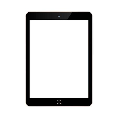 tablet nero con vista frontale dello schermo bianco su sfondo blu. Vettoriali