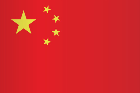 China flag vector. Chinese flag vector . Red China flag with shadow. Illustration