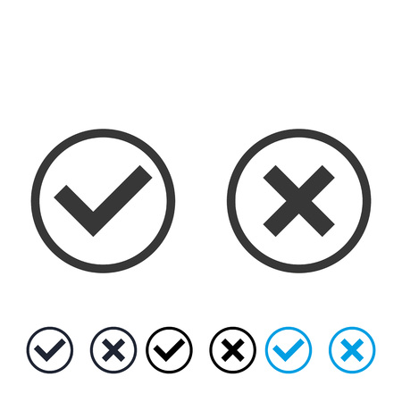 check mark and cross in grey circle vector . Checkmark set approved sign