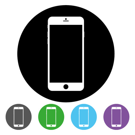 Smartphone inside black circle icon vector eps10. Black circle has smartphone inside for web design