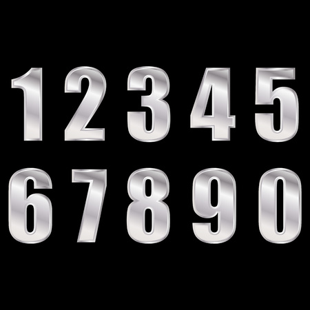 Silver digital numbers vector . Digitals numbers.